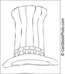 高い, 白, 黒, しまのある, 帽子