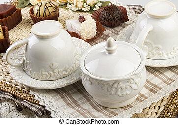高い 茶, クッキー, セット, テーブル
