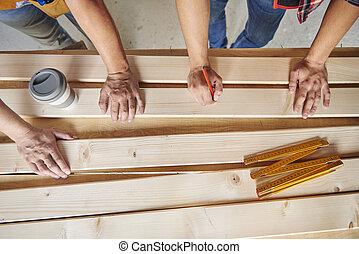高い 角度 眺め, の, 2, 大工, 図画, 上に, 木製の板