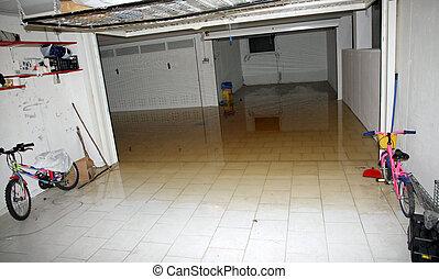 高く, ガレージ, あふれられる, 水, 激怒している, 地下室, 川, から