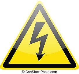 高く, シンボル, 印, 電圧, 危険