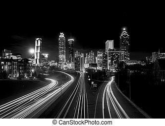 高く, スカイライン, 夜, アトランタ, 対照