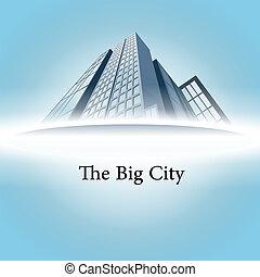高く, バックグラウンド。, 超高層ビル, vector.