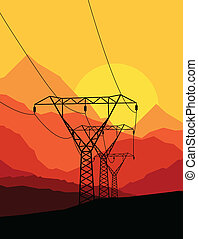 高く, ベクトル, 電圧, 背景, タワー, 線