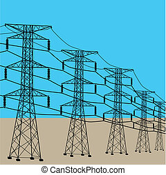 高く, ライン, 電圧, 力
