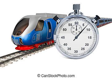 高く, レンダリング, 列車, ストップウォッチ, スピード, 3d