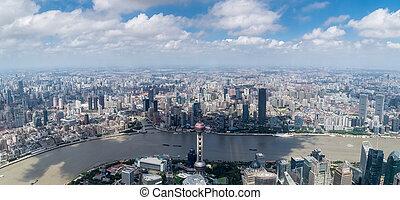 高く, 上海, 角度, パノラマ, 光景