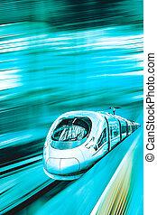 高く, 列車, スピード, 鉄道, station.