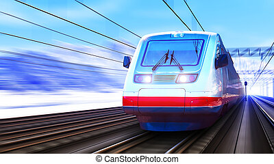 高く, 列車, 現代, スピード, 冬