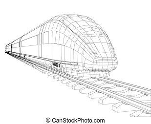 高く, 動き, 列車, スピード