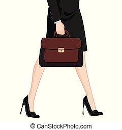 高く, 女性実業家, かかと, ブリーフケース