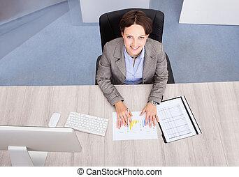高く, 女性実業家, 角度, 光景
