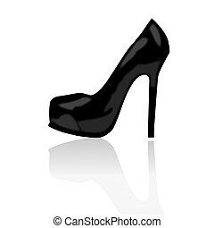 高く, 女, 靴, かかと