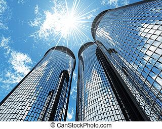 高く, 現代, 超高層ビル, 上に, a, 背景, の, ∥, 青い空, そして, 中に, 太陽, パッチ, ライトの
