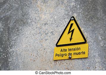 高く, 看板, 電圧, 危険