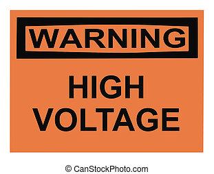 高く, 警告, 電圧, 印