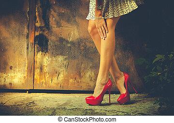 高く, 赤, かかと, 靴