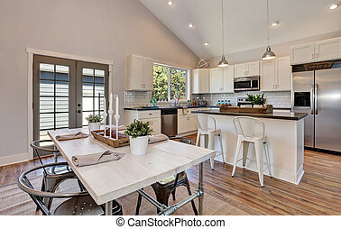 高く, 部屋, ceiling., アーチ形, 食事をする, 内部, 台所