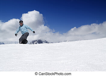 高く, snowboarding, 山