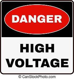 高く, voltage., 印。, ベクトル, 危険