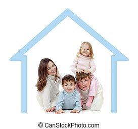 高兴的家庭, 在中, 他们, 自己, 家, 概念