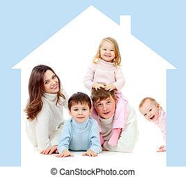 高兴的家庭, 在中, 自己, 家, 概念