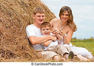 高兴的家庭, 有, 乐趣, 在中, 干草堆, 一起