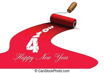 高兴的新年, 刷子, 带, 涂描