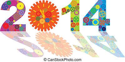 高兴的新年, 2014, 带, 色彩丰富, 齿轮, 描述