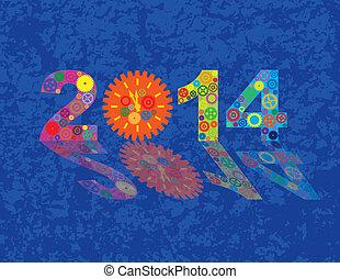 高兴的新年, 2014, 色彩丰富, 齿轮, 带, 背景