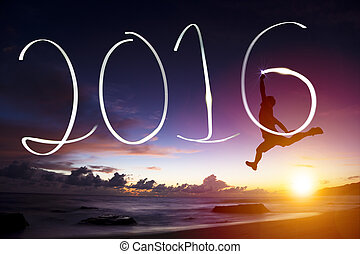 高兴的新年, 2016.young, 控制跳跃, 同时,, 图, 2016, 在上, 海滩
