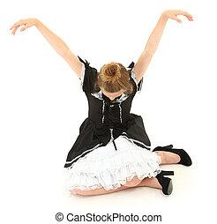 高加索人, 女孩, 孩子, 坐, 在, 活動木偶, 姿態