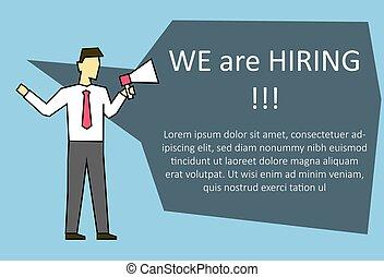 高声, 招募, 新, 雇员, 商人, 呼喊, 发言者