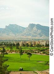 高尔夫球场, 同时,, condos, 在以前, 山