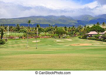 高尔夫球场, 在中, kaanapali, maui, hawa