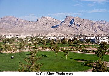 高尔夫球车, 在上, 绿色, 在中, 抛弃, 过程, 在以前, 山