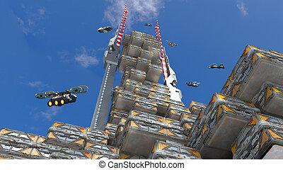 高層, 建築, 未来派, 3d