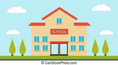 高校, イラスト, 建物, ベクトル