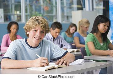 高校, クラス, 男生徒