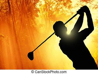 高爾夫球運動員, 綠色的球, 放