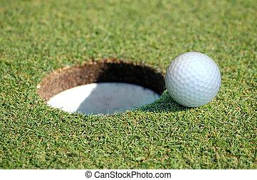 高爾夫球, 在中去, the, 洞