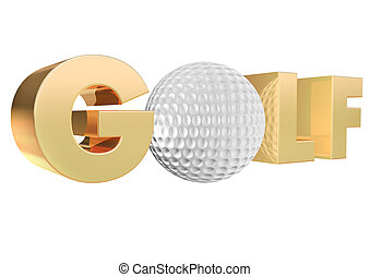 高爾夫球, 金, render, 3d