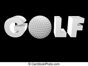 高爾夫球, 黑色, render, 3d