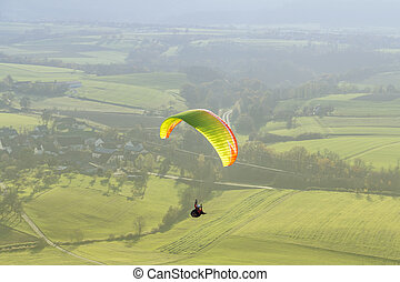 高的角度, paragliding, 風景
