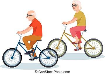高级人, 同时,, a, 妇女, 摆脱, 在一辆自行车上, 描述, 风格, 低, 多边形, poly.eps