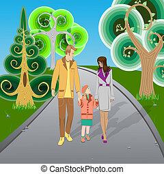高興的家庭, 步行, 在公園