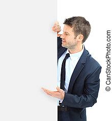 高興的微笑, 商人, 顯示, 空白, signboard, 被隔离, 在上方, 白色 背景