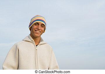 高興的微笑, hispanic, 年青人, 由于, 完美, 白色的牙齒