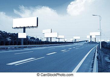 高速公路, 以及, 廣告欄