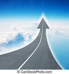 高速公路, 路, 上升, 如, an, 箭, 在空氣中